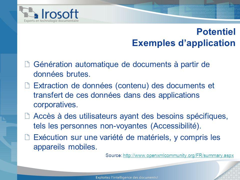 Potentiel Exemples d'application