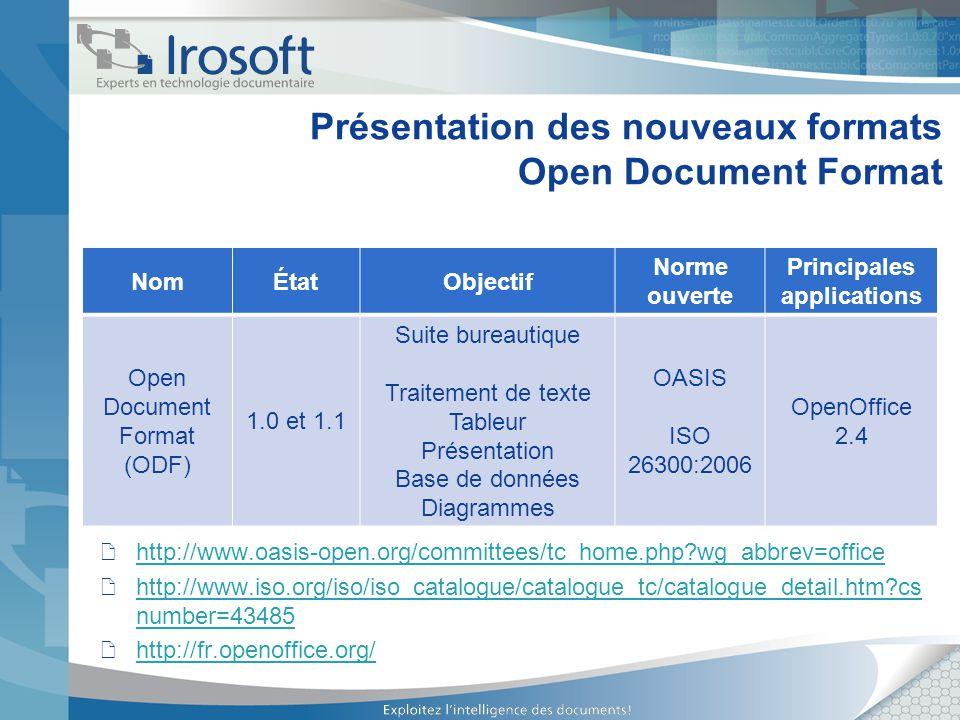 Présentation des nouveaux formats Open Document Format