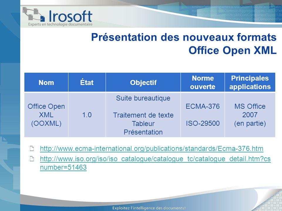 Présentation des nouveaux formats Office Open XML