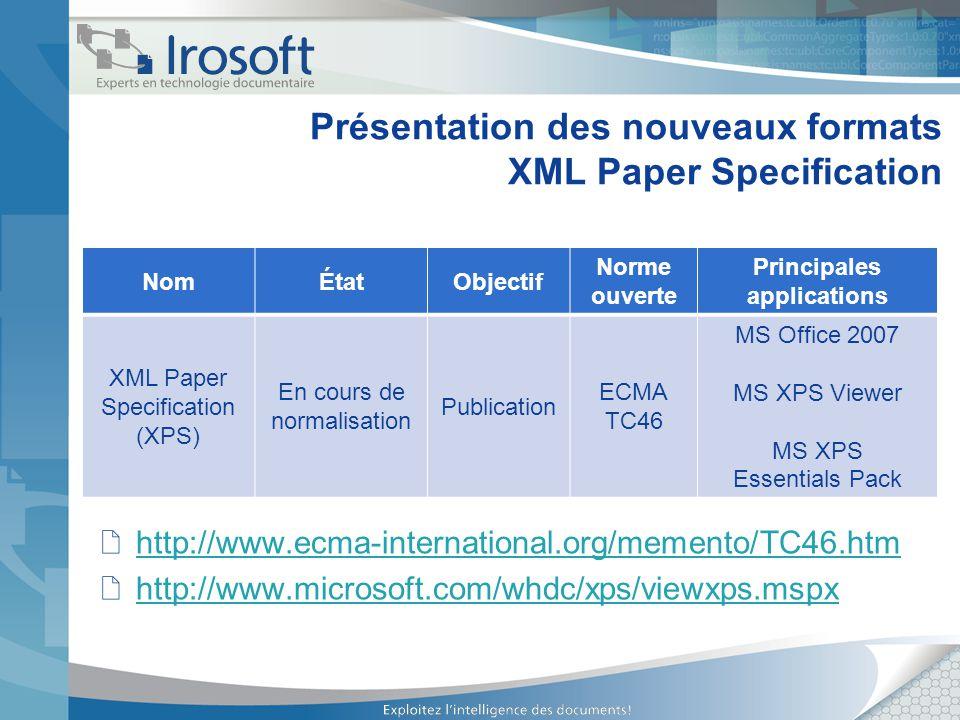 Présentation des nouveaux formats XML Paper Specification