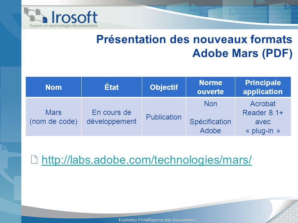 Présentation des nouveaux formats Adobe Mars (PDF)