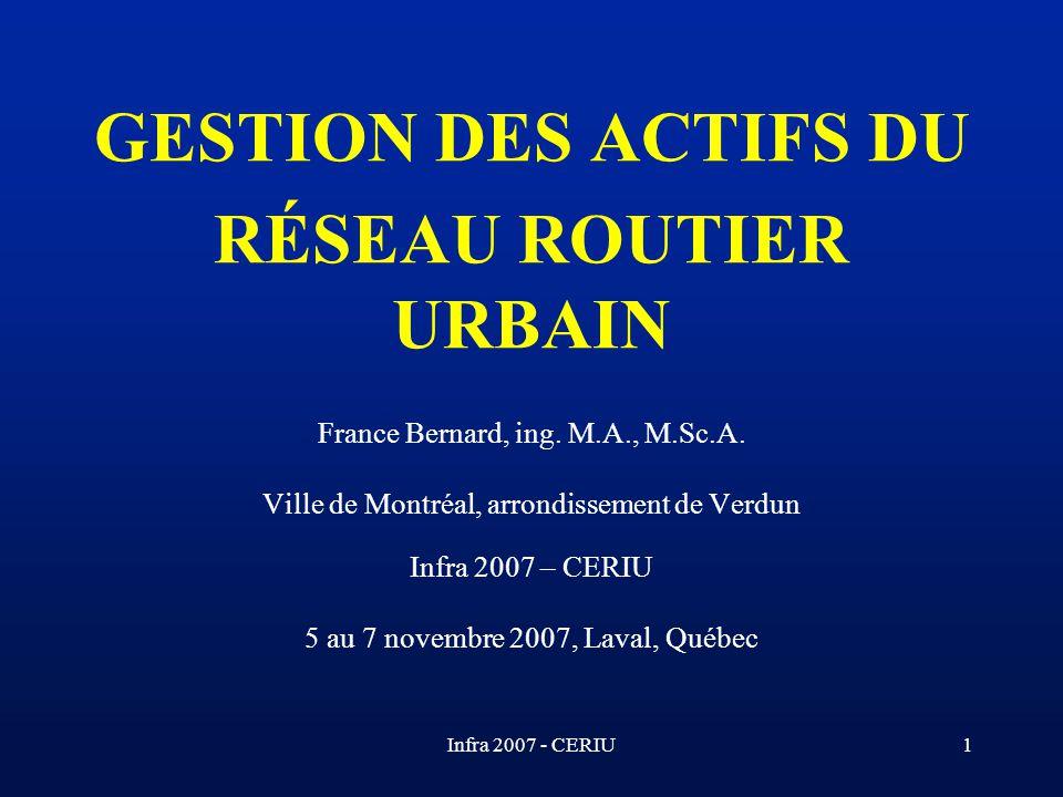 GESTION DES ACTIFS DU RÉSEAU ROUTIER URBAIN