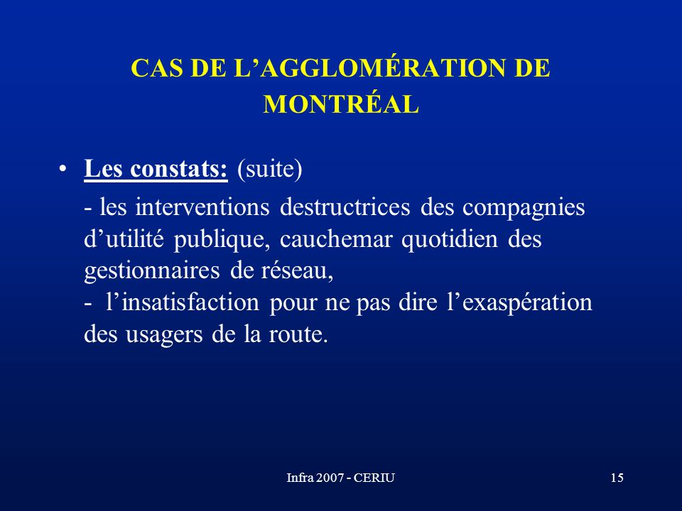 CAS DE L'AGGLOMÉRATION DE MONTRÉAL