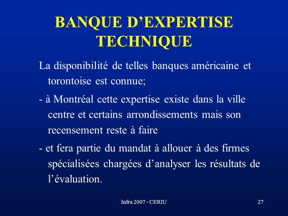 BANQUE D'EXPERTISE TECHNIQUE