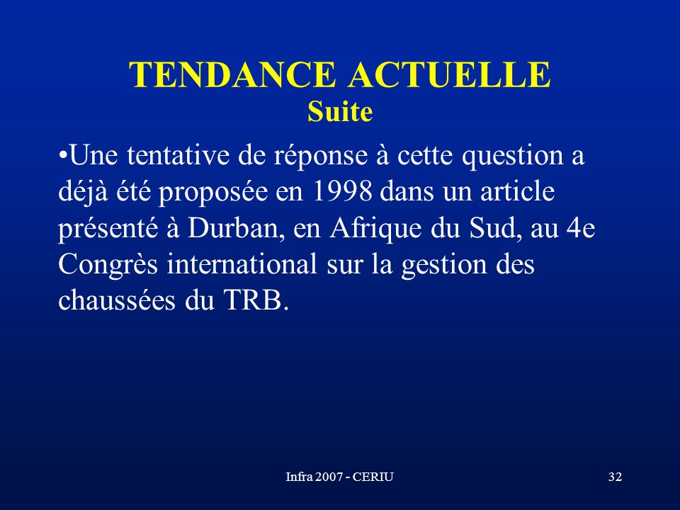 TENDANCE ACTUELLE Suite