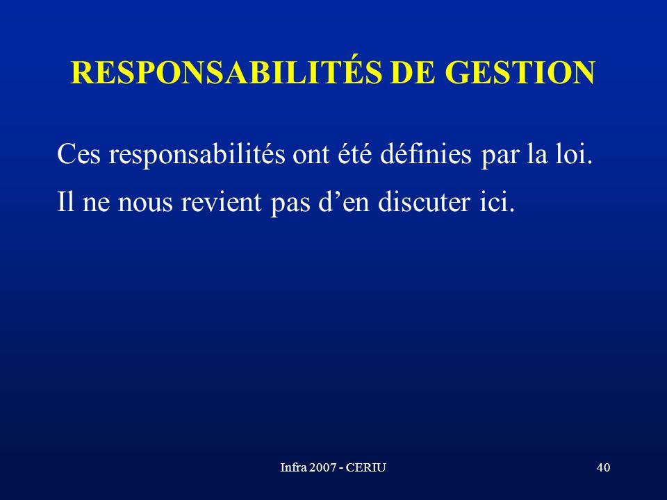 RESPONSABILITÉS DE GESTION