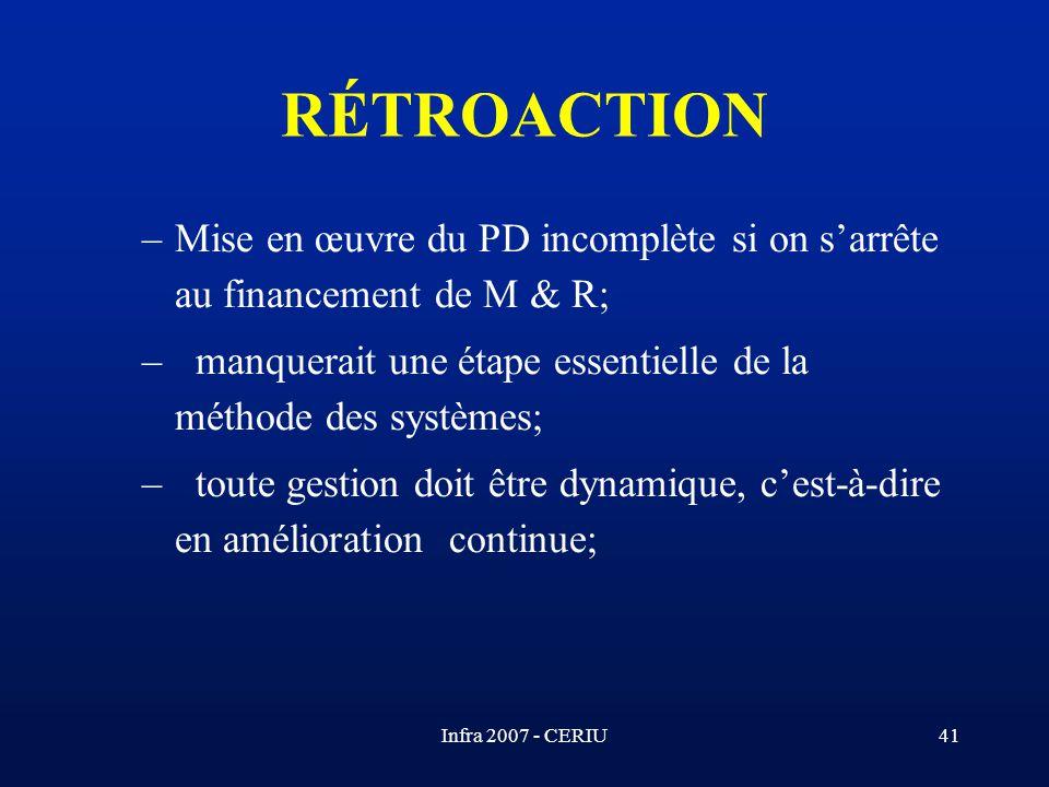 RÉTROACTION Mise en œuvre du PD incomplète si on s'arrête au financement de M & R; manquerait une étape essentielle de la méthode des systèmes;