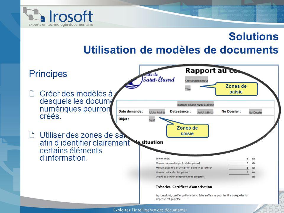 Solutions Utilisation de modèles de documents