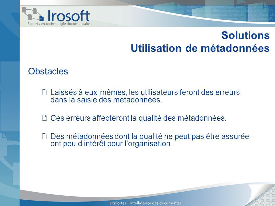 Solutions Utilisation de métadonnées