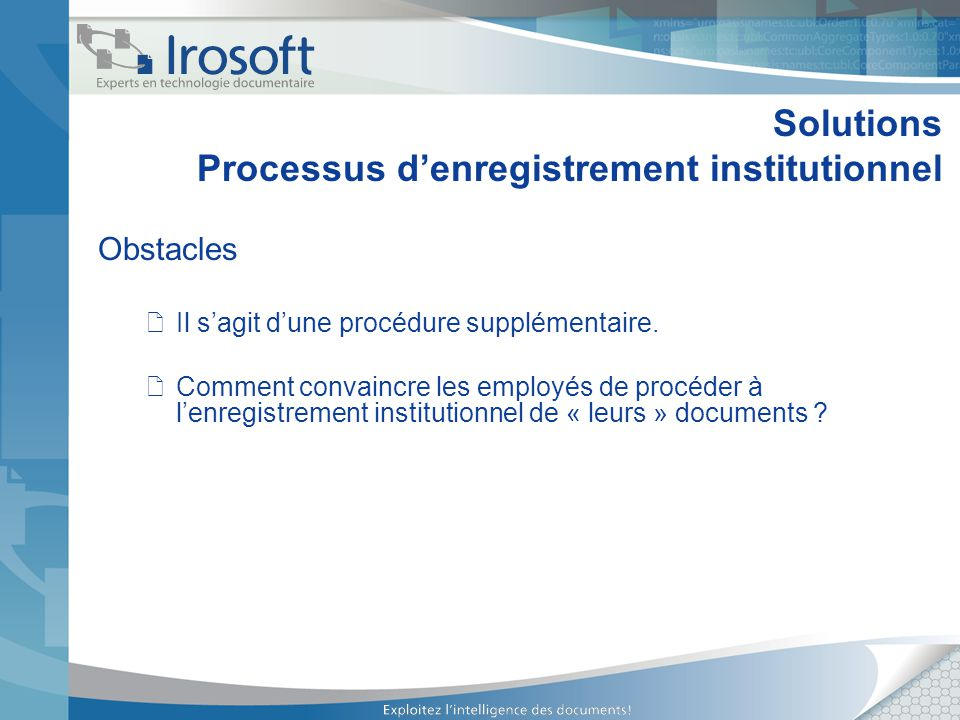 Solutions Processus d'enregistrement institutionnel