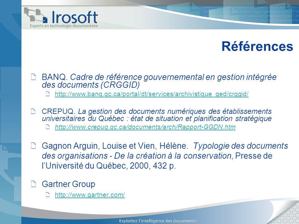 Références BANQ. Cadre de référence gouvernemental en gestion intégrée des documents (CRGGID)