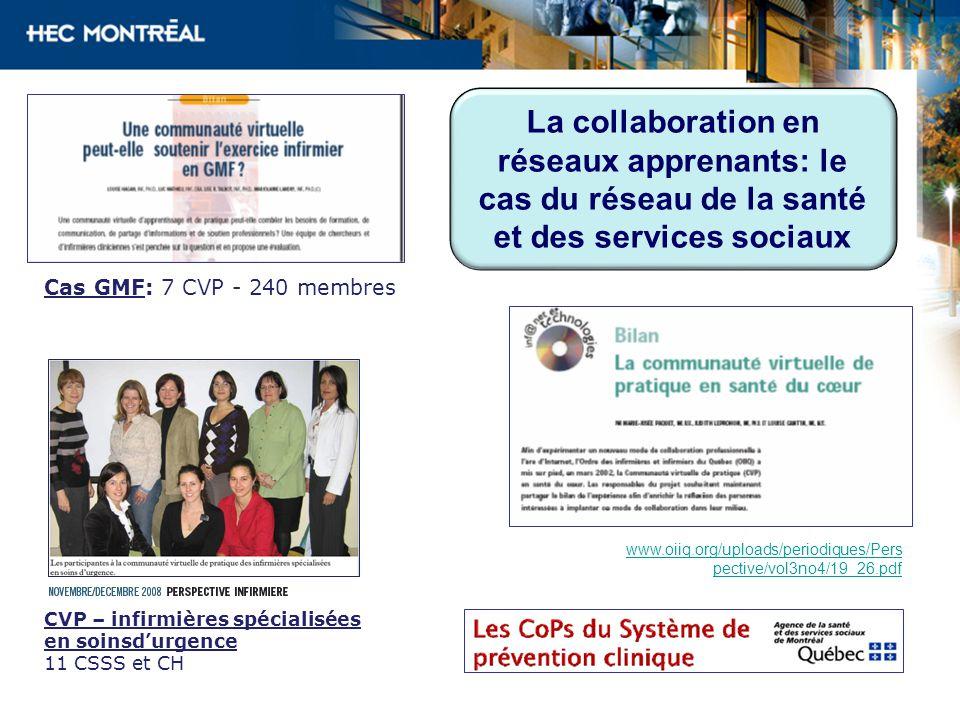 La collaboration en réseaux apprenants: le cas du réseau de la santé et des services sociaux