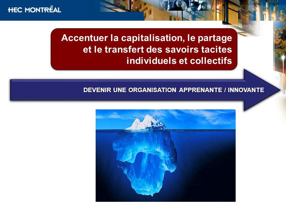 Accentuer la capitalisation, le partage et le transfert des savoirs tacites individuels et collectifs