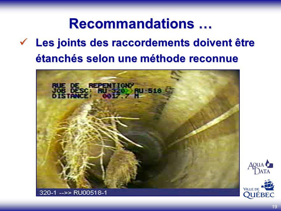 Recommandations … Les joints des raccordements doivent être étanchés selon une méthode reconnue