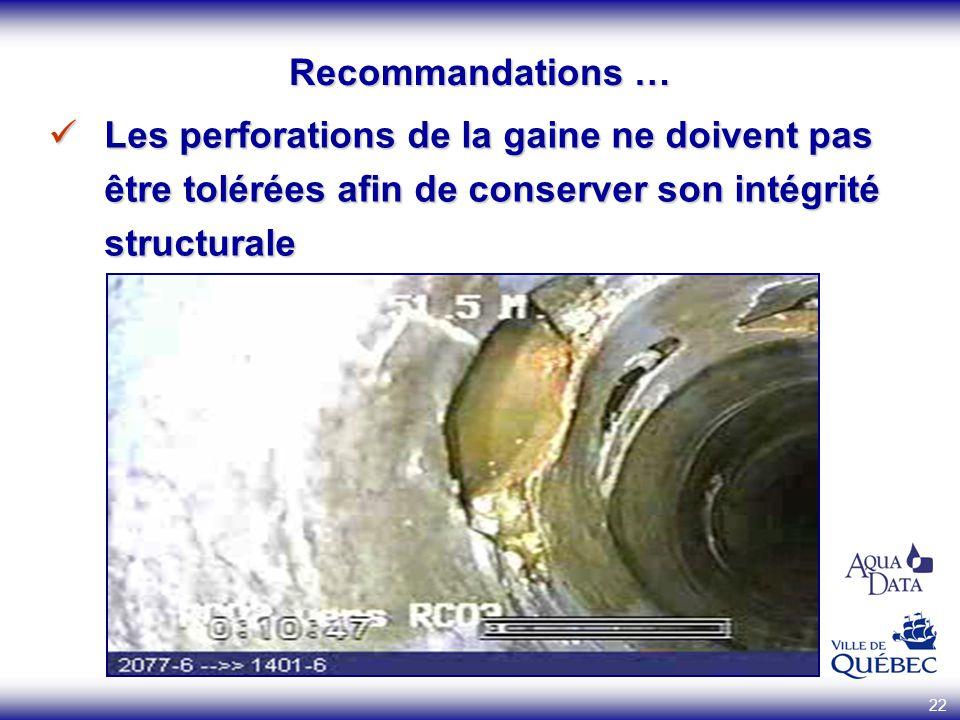 Recommandations … Les perforations de la gaine ne doivent pas être tolérées afin de conserver son intégrité structurale.