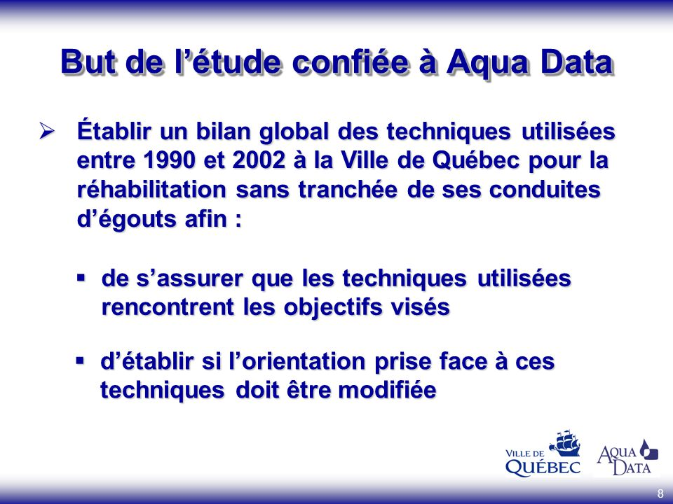 But de l'étude confiée à Aqua Data