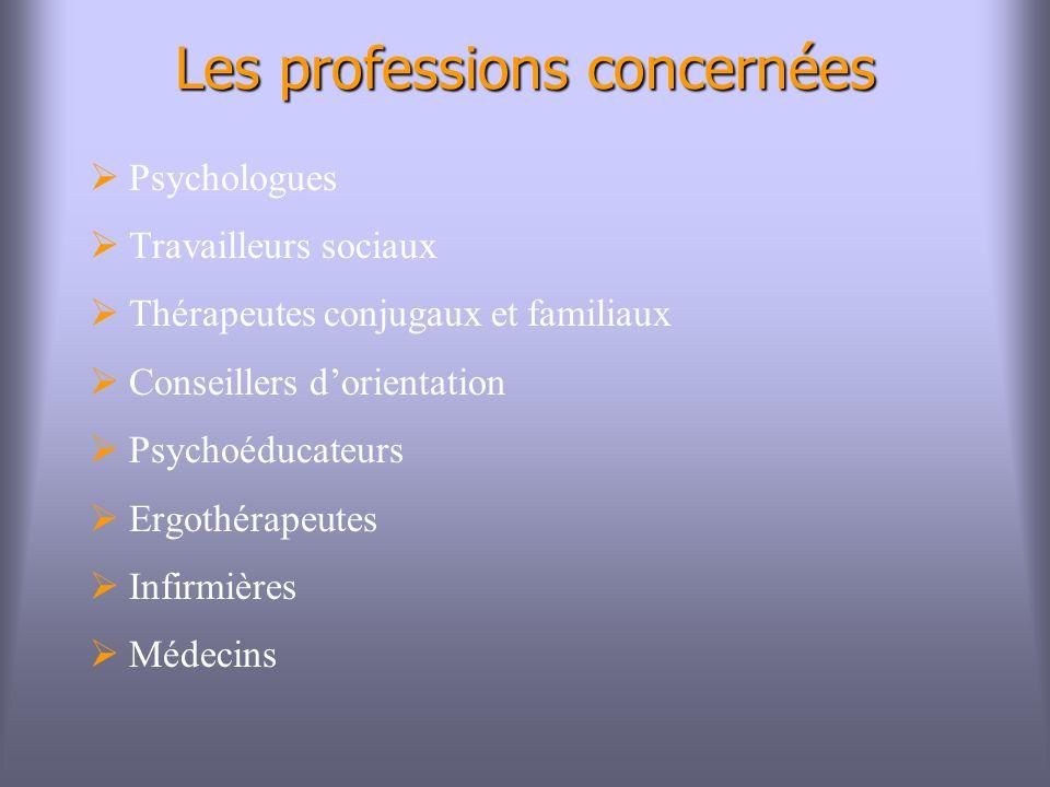 Les professions concernées