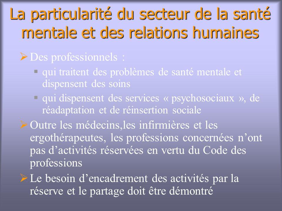 La particularité du secteur de la santé mentale et des relations humaines