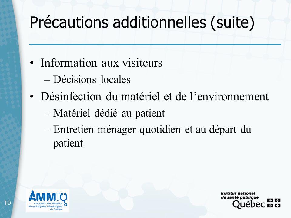 Précautions additionnelles (suite)