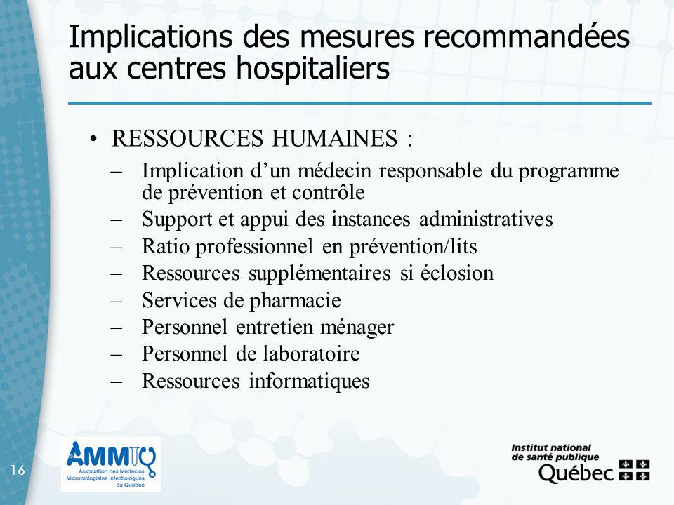 Implications des mesures recommandées aux centres hospitaliers