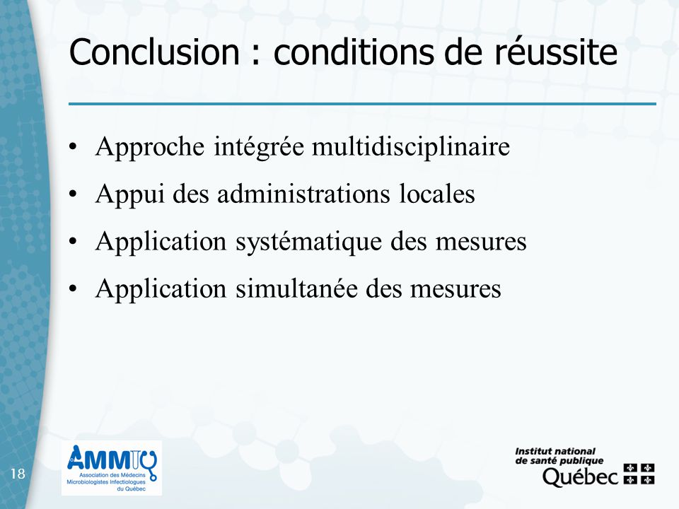 Conclusion : conditions de réussite