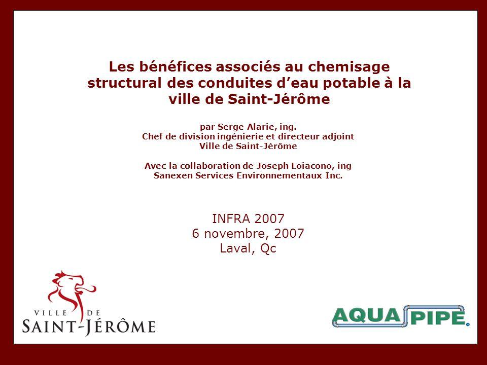 Les bénéfices associés au chemisage structural des conduites d'eau potable à la ville de Saint-Jérôme