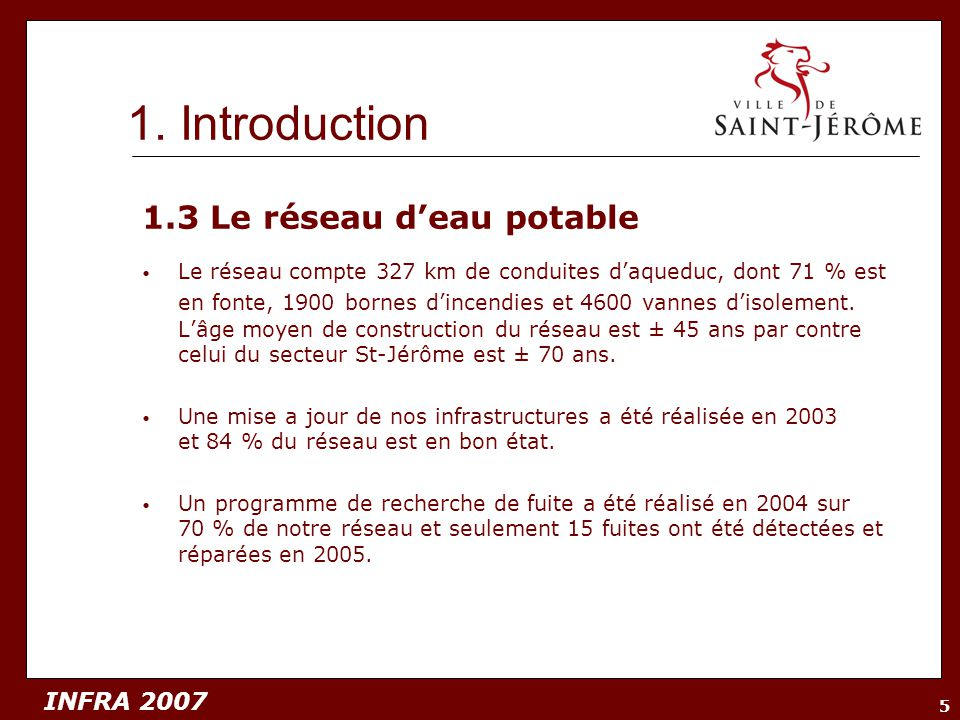 1. Introduction 1.3 Le réseau d'eau potable