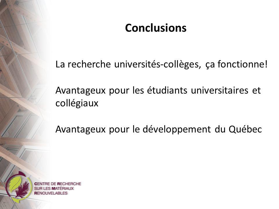 Conclusions La recherche universités-collèges, ça fonctionne!