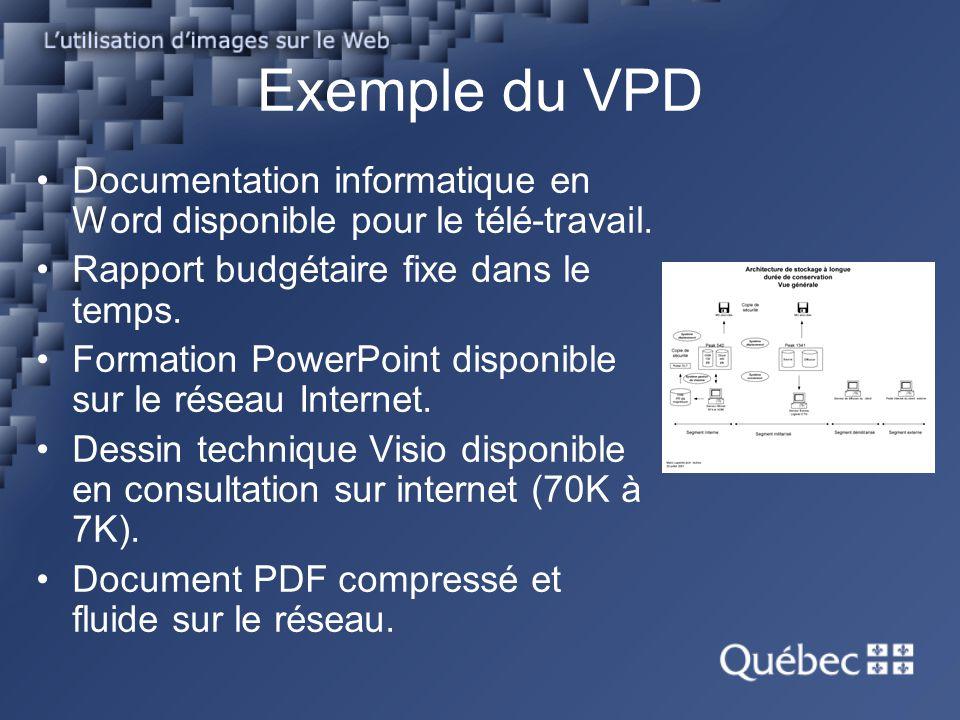 Exemple du VPD Documentation informatique en Word disponible pour le télé-travail. Rapport budgétaire fixe dans le temps.