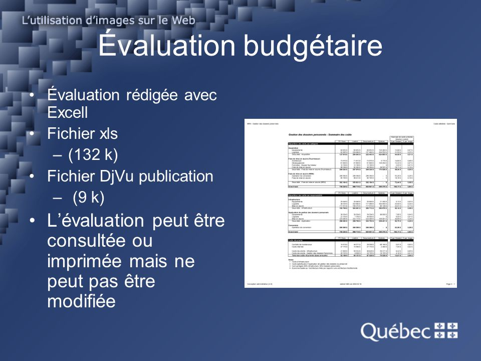 Évaluation budgétaire