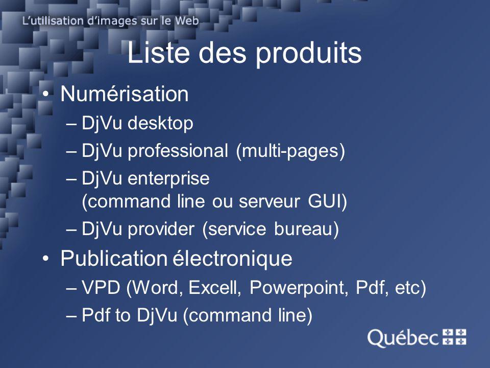 Liste des produits Numérisation Publication électronique DjVu desktop