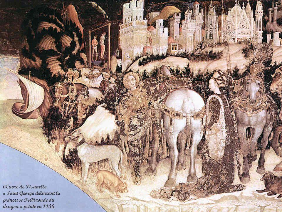 Œuvre de Pisanello « Saint George délivrant la princesse Trébizonde du dragon » peinte en 1436.