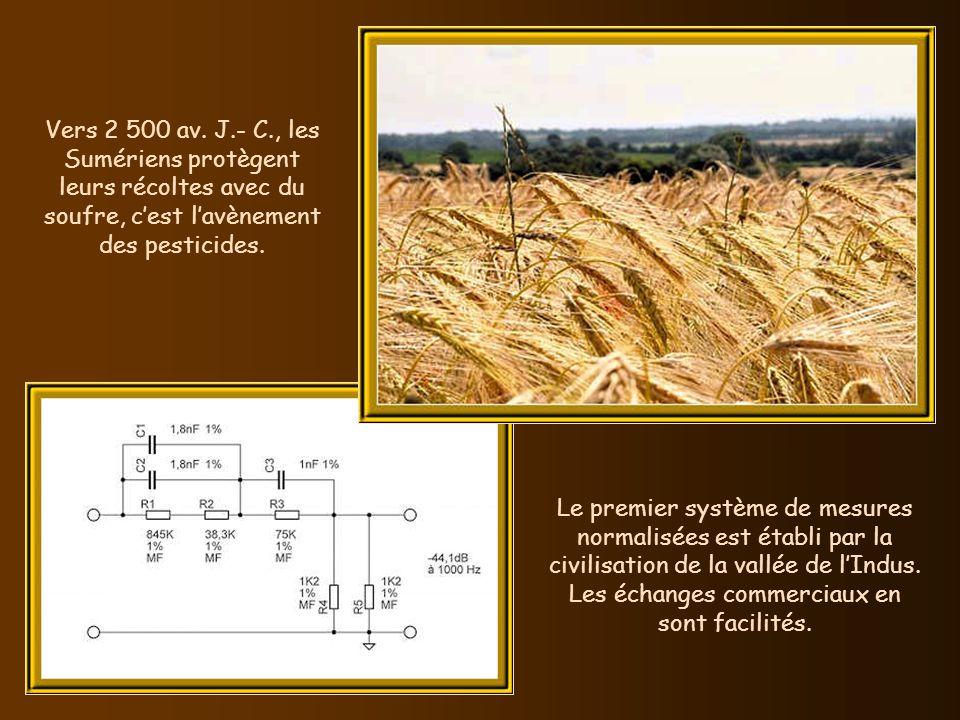 Vers 2 500 av. J.- C., les Sumériens protègent leurs récoltes avec du soufre, c'est l'avènement des pesticides.