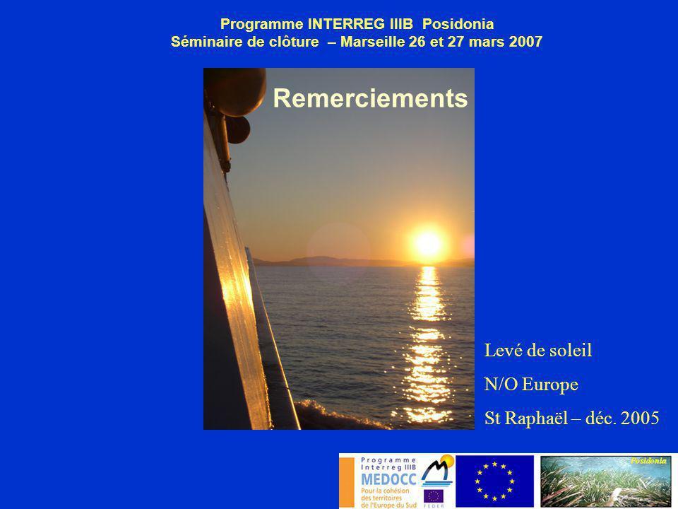 Remerciements Levé de soleil N/O Europe St Raphaël – déc. 2005