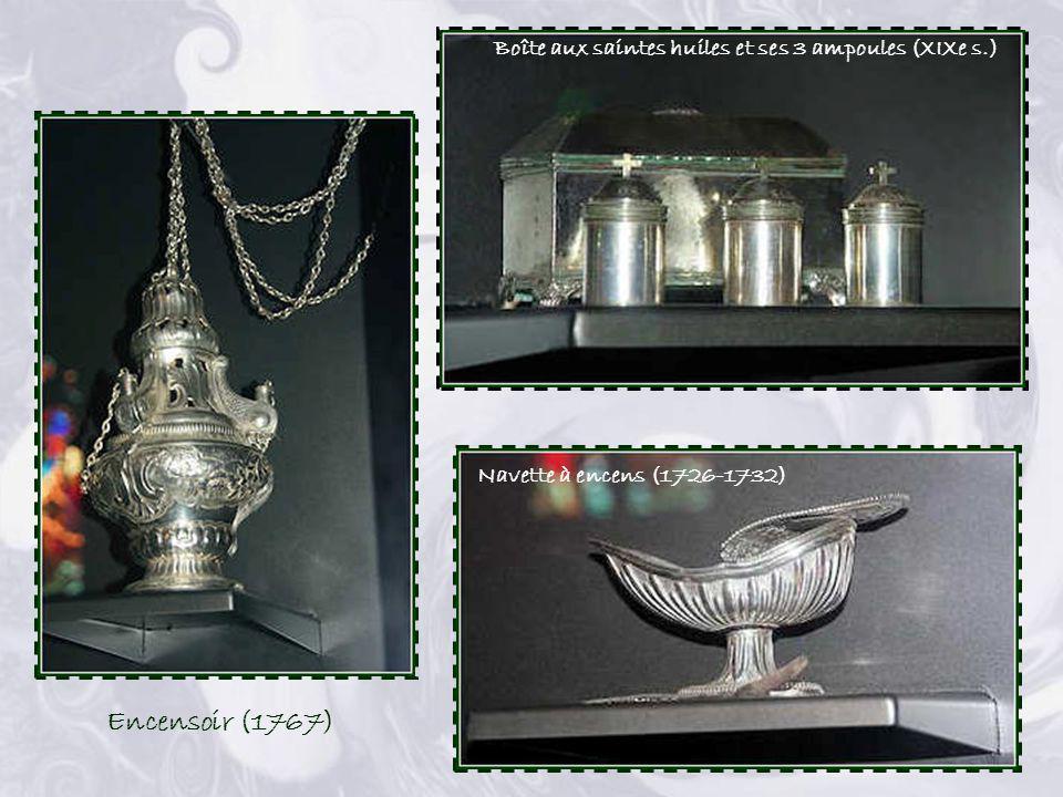 Encensoir (1767) Boîte aux saintes huiles et ses 3 ampoules (XIXe s.)