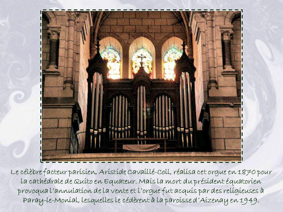 Le célèbre facteur parisien, Aristide Cavaillé-Coll, réalisa cet orgue en 1870 pour la cathédrale de Quito en Equateur.