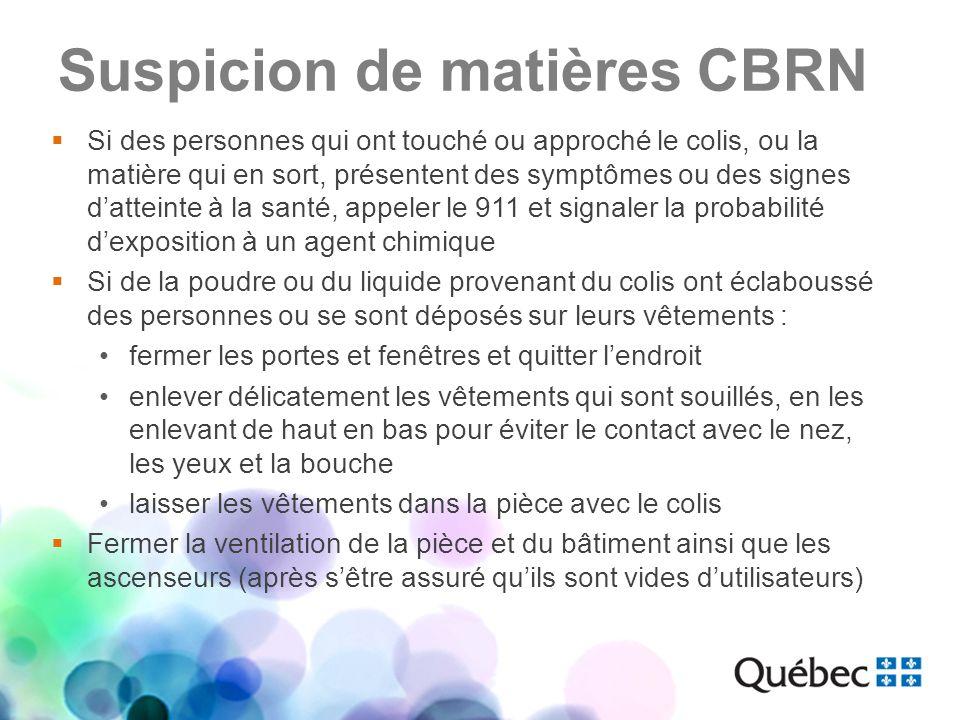 Suspicion de matières CBRN