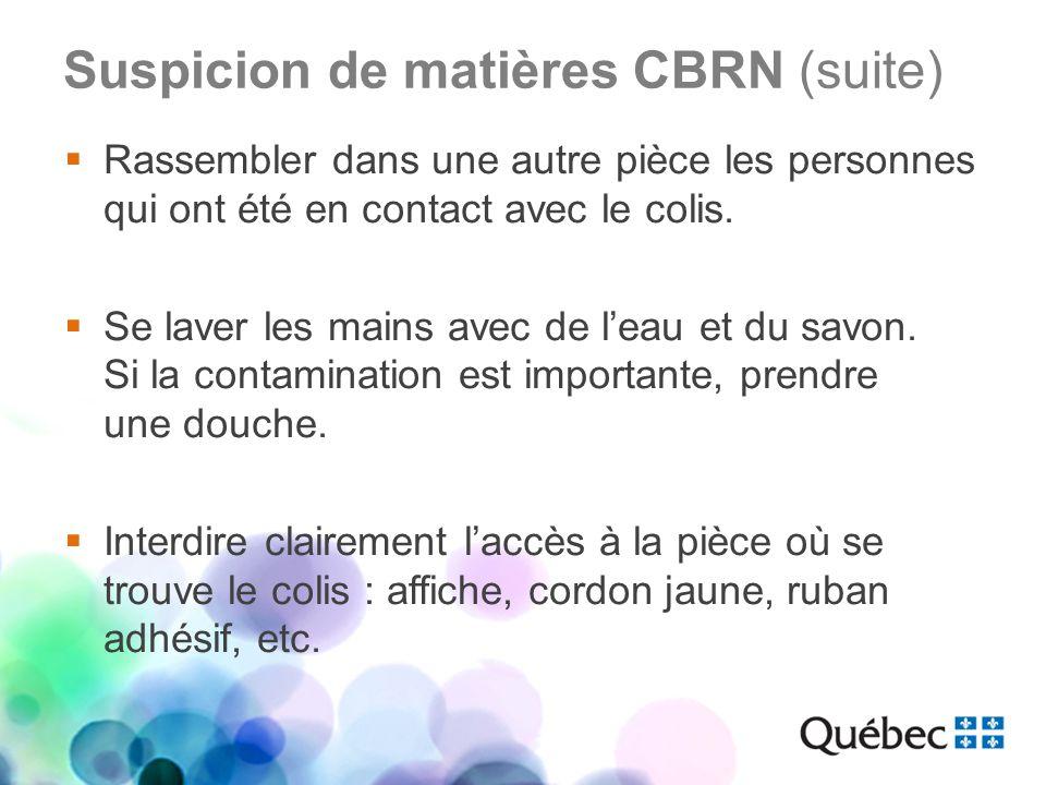 Suspicion de matières CBRN (suite)