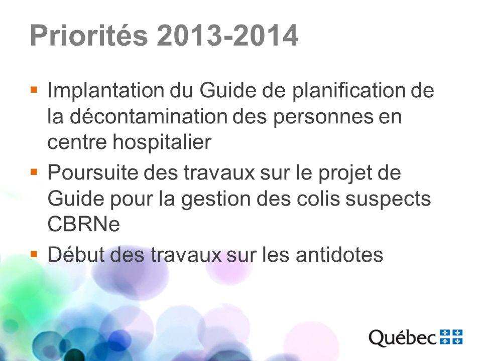 Priorités 2013-2014 Implantation du Guide de planification de la décontamination des personnes en centre hospitalier.