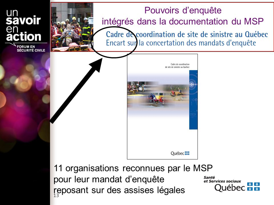 Pouvoirs d'enquête intégrés dans la documentation du MSP