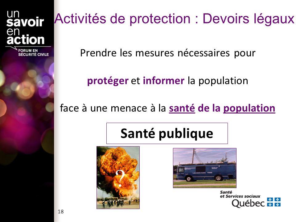 Activités de protection : Devoirs légaux