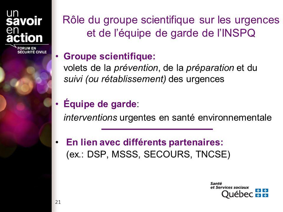 Rôle du groupe scientifique sur les urgences et de l'équipe de garde de l'INSPQ