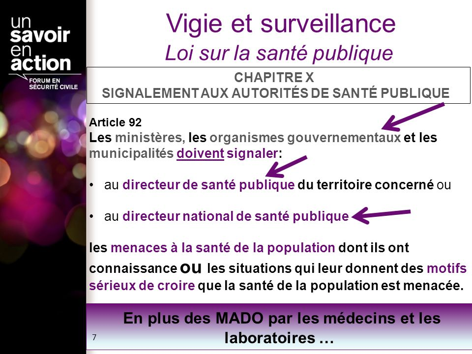 Vigie et surveillance Loi sur la santé publique