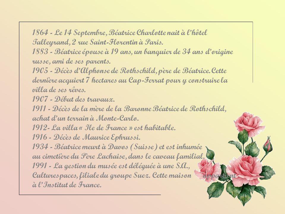 1864 - Le 14 Septembre, Béatrice Charlotte nait à l'hôtel Talleyrand, 2 rue Saint-Florentin à Paris.