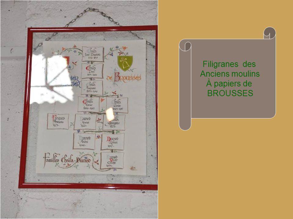 Filigranes des Anciens moulins À papiers de BROUSSES