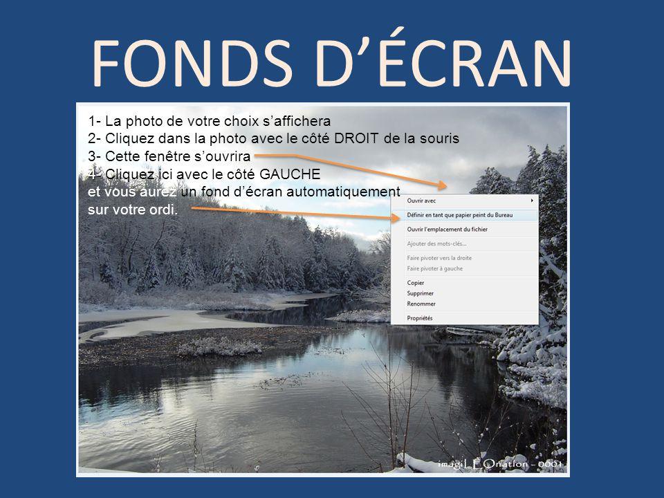 FONDS D'ÉCRAN 1- La photo de votre choix s'affichera