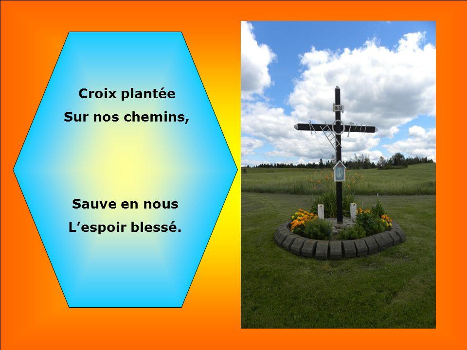 Croix plantée Sur nos chemins, Sauve en nous L'espoir blessé.