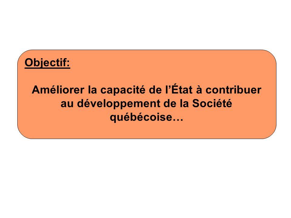 Objectif: Améliorer la capacité de l'État à contribuer au développement de la Société québécoise…