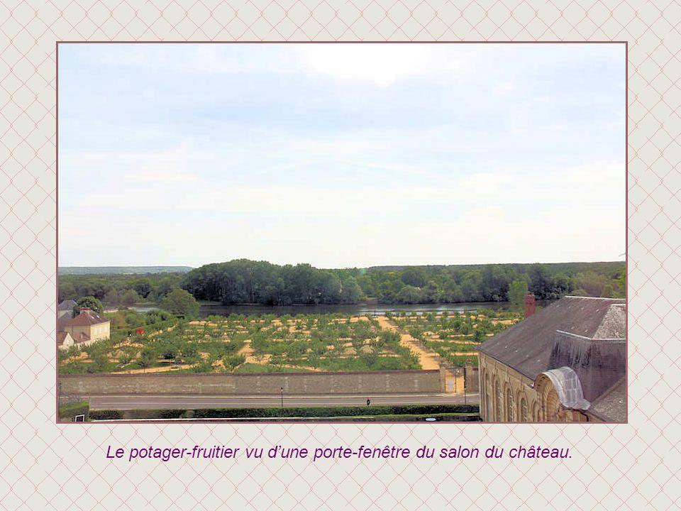 Le potager-fruitier vu d'une porte-fenêtre du salon du château.