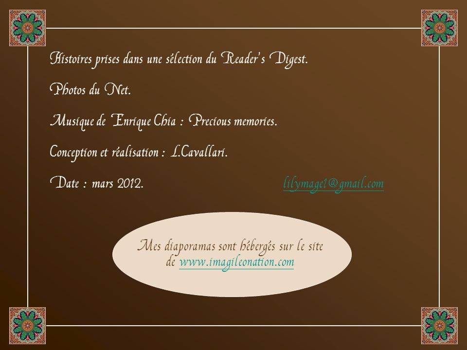 Mes diaporamas sont hébergés sur le site de www.imagileonation.com
